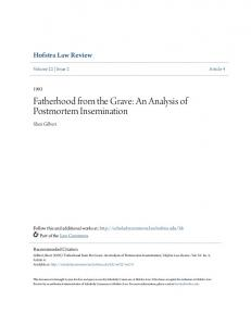 Fatherhood from the Grave: An Analysis of Postmortem Insemination