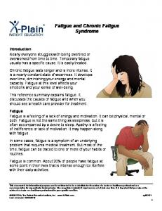 Fatigue and Chronic Fatigue Syndrome
