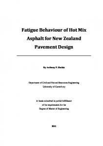 Fatigue Behaviour of Hot Mix Asphalt for New Zealand Pavement Design