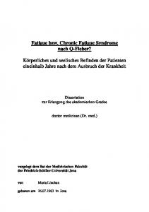 Fatigue bzw. Chronic Fatigue Syndrome nach Q-Fieber?