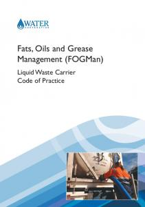 Fats, Oils and Grease Management (FOGMan) Liquid Waste Carrier Code of Practice