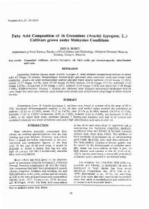 Fatty Acid Composition of 16 Groundnut (Arachis hypogaea, L.) Cultivars grown under Malaysian Conditions