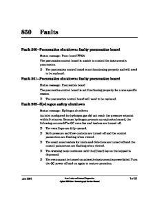Fault 200 Pneumatics shutdown: faulty pneumatics board. Fault 201 Pneumatics shutdown: faulty pneumatics board