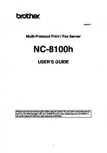Fax Server. NC-8100h USER S GUIDE