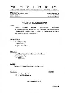 fax.:(87) NIP: tel. kom PROJEKT BUDOWLANY