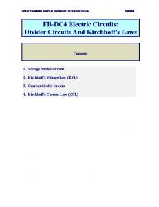FB-DC4 Electric Circuits: Divider Circuits And Kirchhoff's Laws