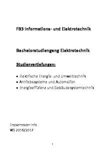 FB3 Informations- und Elektrotechnik. Bachelorstudiengang Elektrotechnik