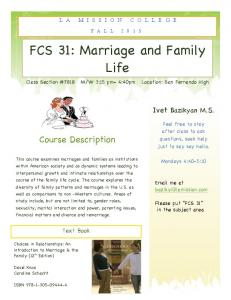 FCS 31: Marriage and Family Life Life
