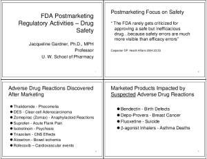 FDA Postmarketing Regulatory Activities Drug Safety