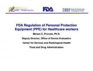 FDA Regulation of Personal Protection Equipment (PPE) for Healthcare workers