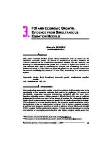 FDI AND ECONOMIC GROWTH. EVIDENCE FROM SIMULTANEOUS EQUATION MODELS