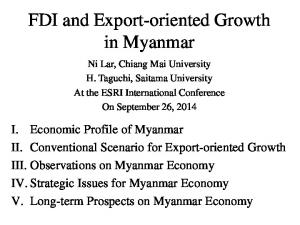 FDI and Export-oriented Growth in Myanmar
