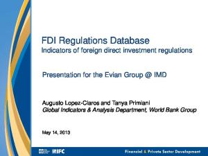 FDI Regulations Database Indicators of foreign direct investment regulations