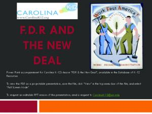 F.D.R AND THE NEW DEAL