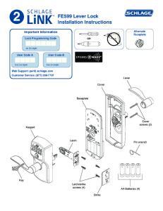 FE599 Lever Lock Installation Instructions