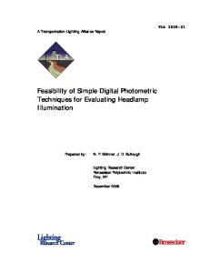 Feasibility of Simple Digital Photometric Techniques for Evaluating Headlamp Illumination