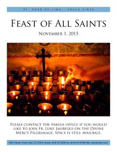 Feast of All Saints. November 1, 2015