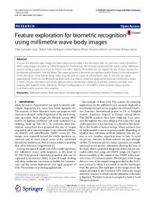 Feature exploration for biometric recognition using millimetre wave body images