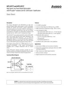 Features. Applications. Truth Table. LED Output (V O )