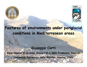 Features of environments under periglacial conditions in Mediterranean areas
