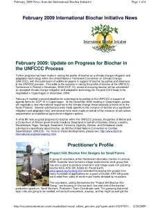 February 2009 International Biochar Initiative News. February 2009: Update on Progress for Biochar in the UNFCCC Process