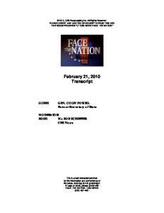 February 21, 2010 Transcript