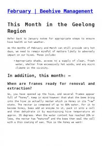 February Beehive Management. This Month in the Geelong Region