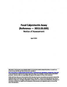 Fecal Calprotectin Assay (Reference ) Notice of Assessment