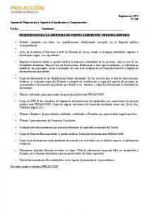 Fecha: Comitente: REQUISITOS PARA LA APERTURA DE CUENTA COMITENTE - PERSONA JURIDICA