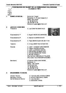 FEDERACION DE RUGBY DE LA COMUNIDAD VALENCIANA (Fundada en 1931)