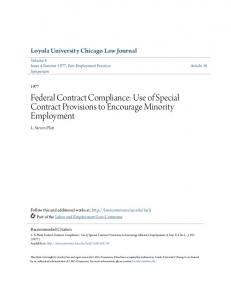 Federal Contract Compliance: Use of Special Contract Provisions to Encourage Minority Employment
