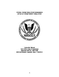 FEDERAL ENERGY REGULATORY COMMISSION OFFICE OF ENERGY MARKET REGULATION