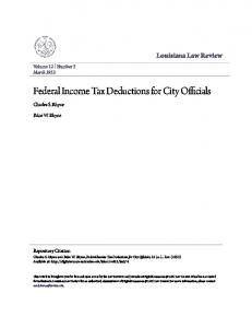 Federal Income Tax Deductions for City Officials