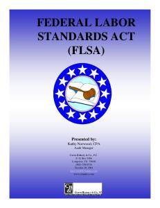 FEDERAL LABOR STANDARDS ACT (FLSA)