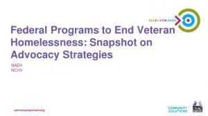 Federal Programs to End Veteran Homelessness: Snapshot on Advocacy Strategies
