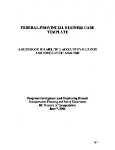 FEDERAL-PROVINCIAL BUSINESS CASE TEMPLATE