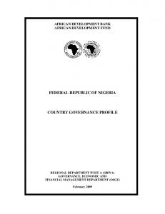 FEDERAL REPUBLIC OF NIGERIA COUNTRY GOVERNANCE PROFILE