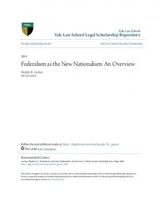 Federalism as the New Nationalism: An Overview
