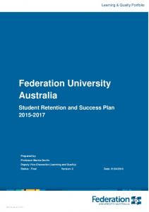 Federation University Australia Student Retention and Success Plan