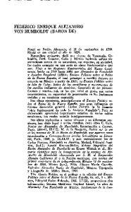 FEDERICO ENRIQUE ALEJANDRO VON HUMBOLDT (BARON DE)