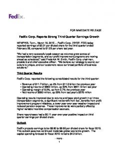 FedEx Corp. Reports Strong Third Quarter Earnings Growth