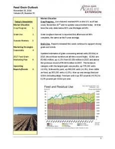 Feed Grain Outlook November 28, 2016 Volume 25, Number 70