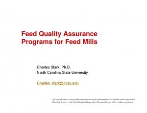 Feed Quality Assurance Programs for Feed Mills