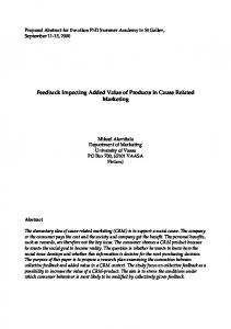 Feedback Impacting Added Value of Products in Cause Related Marketing