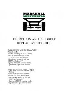 FEEDCHAIN AND FEEDBELT REPLACEMENT GUIDE