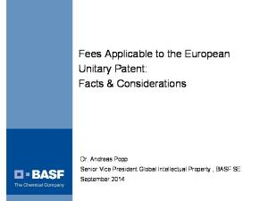 Fees Applicable to the European Unitary Patent: Facts & Considerations
