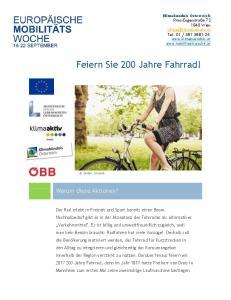 Feiern Sie 200 Jahre Fahrrad!