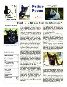 Feline Focus. Pssst... did you hear the latest one? Feline Rescue. Inside this issue: Volume 1, Issue X Fall,