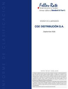 Feller-Rate CGE DISTRIBUCIÓN S.A. Septiembre Strategic Affíliate of Standard & Poor s INFORME DE CLASIFICACIÓN