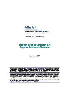 Feller-Rate. CLASIFICADORA DE RIESGO Strategic Affíliate of Standard & Poor s INFORME DE CLASIFICACION